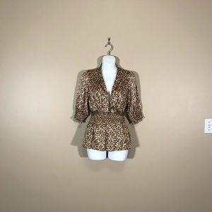 BCBGMaxazria Cheetah Short Sleeve Blouse